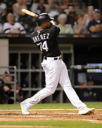 CHICAGO - SEPTEMBER 11:  Eloy Jimenez #74 of the Chicago White Sox bats against the Kansas City Royals on September 11, 2019 at Guaranteed Rate Field in Chicago, Illinois.  (Photo by Ron Vesely)  Subject:   Eloy Jimenez