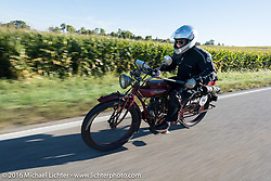 Doug Jones riding his 1914 Indian Model 260 Standard during the Motorcycle Cannonball Race of the Century. Stage-4 from Chillicothe, OH to Bloomington, IN. USA. Tuesday September 13, 2016. Photography ©2016 Michael Lichter.
