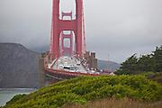 Heavy vehicle and pedestrian traffic on the Golden Gate Bridge, San Francisco, California.