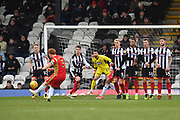MK Dons defender Dean Lewington (3) takes free kick during the EFL Sky Bet League 2 match between Grimsby Town FC and Milton Keynes Dons at Blundell Park, Grimsby, United Kingdom on 26 January 2019.