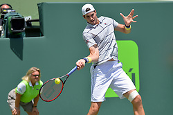 March 30, 2018 - Miami, FL, United States - KEY BISCAYNE, FL - MARCH 30: John Isner (USA) defeats Juan Martin Del Potro (ARG) 61 76(2) in action during day 12 of the 2018 Miami Open held at the Crandon Park Tennis Center on March 29, 2018 in Key Biscayne, Florida.   Credit: Andrew Patron/Zuma Wire (Credit Image: © Andrew Patron via ZUMA Wire)