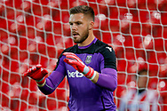 Stoke City goalkeeper Jack Butland (1) warming up  during the EFL Sky Bet Championship match between Stoke City and Swansea City at the Bet365 Stadium, Stoke-on-Trent, England on 18 September 2018.