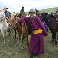 Nomadic herders at a naadam festival on a remote pass near Muren in Hovsgol Aimag, Mongolia.