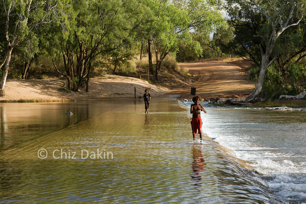Aboriginal children playing in the River Roper at Roper Bar.