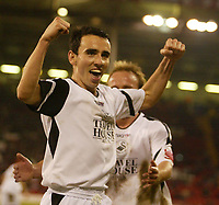 Photo: Aidan Ellis.<br /> Sheffield United v Swansea City. The FA Cup. 06/01/2007.<br /> Swansea's Rory Fallon celebrates after scoring the third from the penalty spot