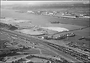 """Ackroyd 06242-2. """"Commission Public Docks. Aerials of dredging near Shaver Transportation. August 3, 1955"""" (Shaver became the Waterways terminal. 5x7"""")"""