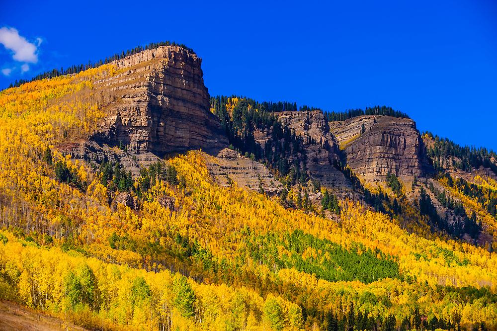 Fall color, Needles (north of Durango), San Juan Mountains, southwest Colorado USA.