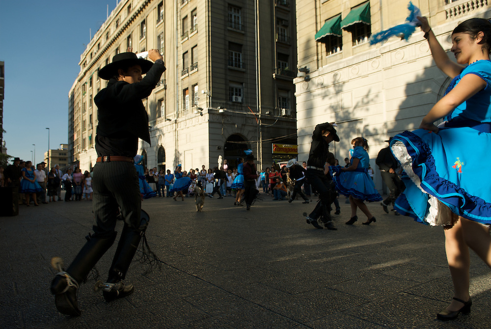 Young dancers perform on the square in downtown Santiago, Chile