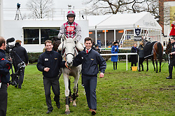 Winner of the 2015 Hennessy Gold Cup winner Smad Place riden by jockey WAYNE HUTCHINSON at the 2015 Hennessy Gold Cup held at Newbury Racecourse, Berkshire on 28th November 2015.