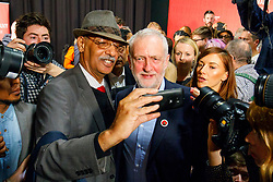© Licensed to London News Pictures. 29/04/2017. London, UK. Labour leader JEREMY CORBYN poses for a selfie as he leaves London Metropolitan University after delivering a speech at in east London on 29 April 2017. Photo credit: Tolga Akmen/LNP