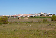 Landscape view of village and countryside around Castro Verde, Baixo Alentejo, Portugal, southern Europe