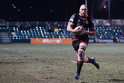 Dragons' Rynard Landman charges towards the try line.<br /> <br /> Photographer Simon Latham/Replay Images<br /> <br /> Guinness PRO14 - Dragons v Edinburgh - Friday 23rd February 2018 - Eugene Cross Park - Ebbw Vale<br /> <br /> World Copyright © Replay Images . All rights reserved. info@replayimages.co.uk - http://replayimages.co.uk