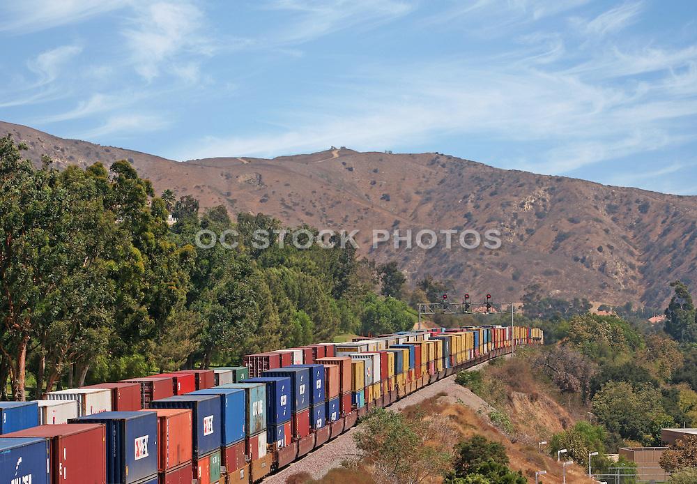 Freight Train Running Through Anaheim Hills