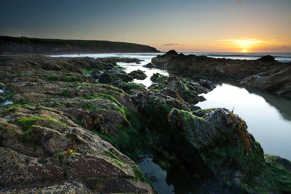 Sunset from Porthselau Beach, Pembrokeshire, Wales, Uk