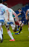 Sale Sharks fly-half AJ McGinty kicks a conversion under pressure from the Chiefs during a Gallagher Premiership Round 11 Rugby Union match, Friday, Feb 26, 2021, in Eccles, United Kingdom. (Steve Flynn/Image of Sport)