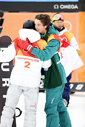 February 14, 2018 - PyeongChang, South Korea - Gold medal winner SHAUN WHITE of USA gets a hug from bronze medal winner SCOTTY JAMES of Australia in Snowboard Men's Halfpipe Final at Phoenix Snow Park during the 2018 Pyeongchang Winter Olympic Games. (Credit Image: © Scott Mc Kiernan via ZUMA Wire)