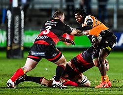 Cheetahs' Sibhale Maxwane is tackled by Dragons' Harrison Keddie<br /> <br /> Photographer Craig Thomas/Replay Images<br /> <br /> Guinness PRO14 Round 18 - Dragons v Cheetahs - Friday 23rd March 2018 - Rodney Parade - Newport<br /> <br /> World Copyright © Replay Images . All rights reserved. info@replayimages.co.uk - http://replayimages.co.uk