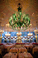 The green chandler in the Chrystal Room of Tavern On The Green..(Photo by Robert Caplin)..