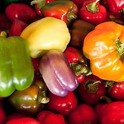 Fresh peppers for sale at a farmstand in Concord, MA, USA
