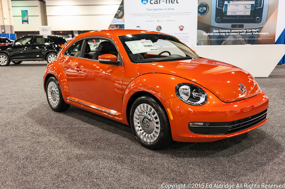 CHARLOTTE, NC, USA - November 11, 2015: Volkswagen Beetle on display during the 2015 Charlotte International Auto Show at the Charlotte Convention Center in downtown Charlotte.
