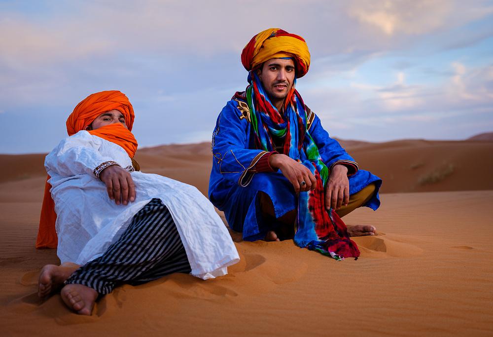 MERZOUGA, MOROCCO - CIRCA MAY 2018: Portrait of Berbers in the Sahara Desert