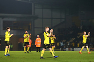 Brewers players applaud the fans at full time during the EFL Sky Bet League 1 match between Burton Albion and Wycombe Wanderers at the Pirelli Stadium, Burton upon Trent, England on 26 December 2018.