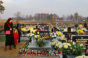 Stradomia Wierzchnia village cemetery, Poland. All Saints Day.