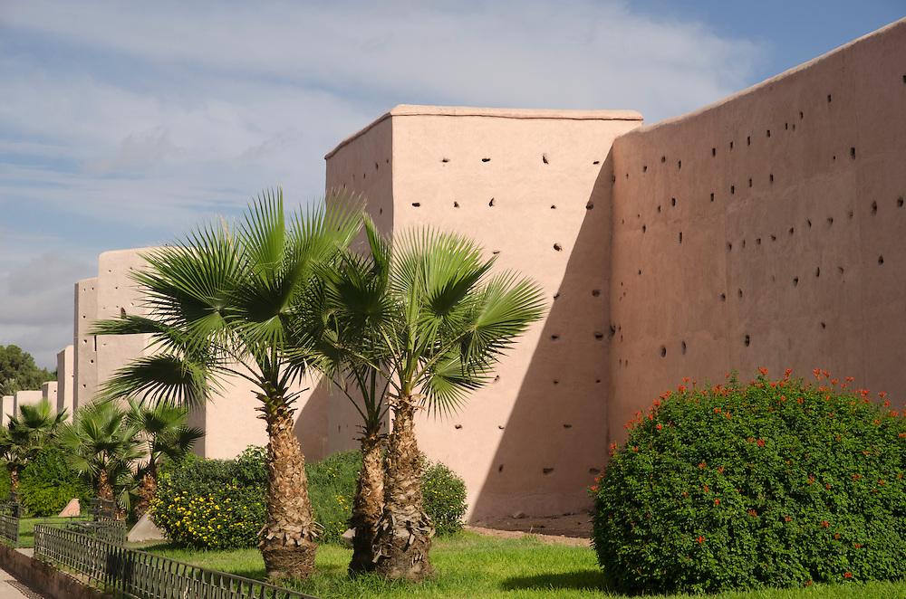 Old city walls surrounding the medina Marrakech Morocco