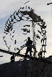 November 9, 2016 - Ramallah, West Bank, Palestinian Territory - A Palestinian man attends inauguration ceremony of late Palestinian leader Yasser Arafat's Museum in the West Bank city of Ramallah on November 9, 2016. The Yasser Arafat Museum opened in Ramallah, shedding light on the long-time Palestinian leader's life and offering a glimpse of history -- along with a number of his trademark black-and-white keffiyehs  (Credit Image: © Shadi Hatem/APA Images via ZUMA Wire)