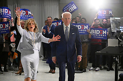 Former Vice President Joe Biden, sided by his wife Dr. Jill Biden, takes the stage to deliver remarks after wining the Michigan Primary, at the National Constitution Center, in Philadelphia, PA, on March 10, 2020.