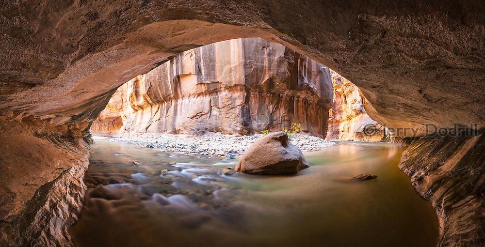 An undercut bend in the Virgin River at the Narrows, Zion National Park, Utah