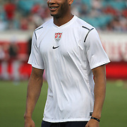 United States Defenseman Oguchi Onyewu (5) during an international friendly soccer match between Scotland and the United States at EverBank Field on Saturday, May 26, 2012 in Jacksonville, Florida.  The United States won the match 5-1 in front of 44,000 fans. (AP Photo/Alex Menendez)