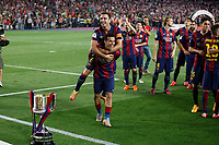 Barcelona´s Xavi and Pedro celebrate after winning the 2014-15 Copa del Rey final match against Athletic de Bilbao at Camp Nou stadium in Barcelona, Spain. May 30, 2015. (ALTERPHOTOS/Victor Blanco)