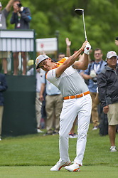 May 5, 2019 - Charlotte, North Carolina, United States of America - Rickie Fowler tees off on the first hole during the final round of the 2019 Wells Fargo Championship at Quail Hollow Club on May 05, 2019 in Charlotte, North Carolina. (Credit Image: © Spencer Lee/ZUMA Wire)