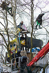 Steeple Claydon, UK. 24 February, 2021. Thames Valley Police officers acting on behalf of HS2 Ltd use a cherry picker to attempt to evict activists opposed to the HS2 high-speed rail link from ancient woodland known as Poors Piece. Thames Valley Police stepped in to replace National Eviction Team bailiffs. The activists created the Poors Piece Conservation Project in the woodland in spring 2020 after having been invited to stay on the land by its owner, farmer Clive Higgins.