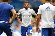 Pedro of Chelsea, the clubs new signing from Barcelona during pre-match warm up before k/o. Barclays Premier League, Chelsea v Crystal Palace at Stamford Bridge in London on Saturday 29th August 2015.<br /> pic by John Patrick Fletcher, Andrew Orchard sports photography.