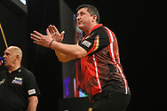 Mensur Suljovic misses a dart at a double during the BWIN Grand Slam of Darts at Aldersley Leisure Village, Wolverhampton, United Kingdom on 18 November 2018.