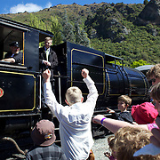 Deputy Prime Minister Bill English with the Kingston Flyer vintage steam train at Saturday's relaunch of the historic locomotives at Fairlight near Queenstown, Central Otago, New Zealand, 29th October 2011. Photo Tim Clayton...