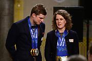 Officiele Huldiging van de Olympische medaillewinnaars Sochi 2014 / Official Ceremony of the Sochi 2014 Olympic medalists.<br /> <br /> Op de foto:  Ireen Wust  en Sven Kramer