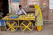 Indian man selling bananas in the street to a woman wearing a sari, Jodhpur, Rajastan, India.  .