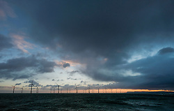 © Licensed to London News Pictures. <br /> 11/01/2017. <br /> Redcar, UK.  <br /> <br /> Storm clouds form over the offshore wind farm at South Gare near Redcar as heavy winds affect many parts of the country. <br /> <br /> <br /> <br /> <br /> Photo credit: Ian Forsyth/LNP