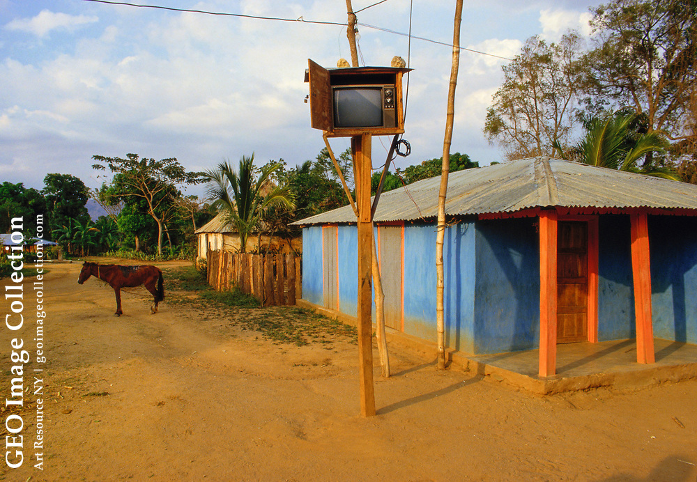 """The community television set in the small village of La Victoire.  The photogra pher commented """"sometimes it even works."""""""