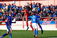 Accrington Stanley defender Michael Ihiekwe (4), on loan from Rotherham United, scores a goal to make the score 1-1 during the EFL Sky Bet League 1 match between Accrington Stanley and Portsmouth at the Fraser Eagle Stadium, Accrington, England on 27 October 2018.
