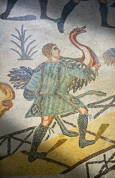 An captured Ostich from the Ambulatory of The Great Hunt, room no 28,  at the Villa Romana del Casale,  first quarter of the 4th century AD. Sicily, Italy. A UNESCO World Heritage Site. .<br /> <br /> If you prefer to buy from our ALAMY PHOTO LIBRARY  Collection visit : https://www.alamy.com/portfolio/paul-williams-funkystock/villaromanadelcasale.html<br /> Visit our ROMAN MOSAICS  PHOTO COLLECTIONS for more photos to buy as buy as wall art prints https://funkystock.photoshelter.com/gallery/Roman-Mosaics-Roman-Mosaic-Pictures-Photos-and-Images-Fotos/G00008dLtP71H_yc/C0000q_tZnliJD08