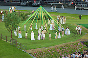 Green and Pleasant land depicting Great Britain before the industrial Revolution. A farm, Horse and carriage, Sheep, Geese, chicken where part of the cast. With the traditional maypole depicted here. Technical rehearsal of the openings ceremony of the Olympic Games in London.