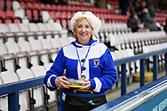 AFC Wimbledon fan before the EFL Sky Bet League 1 match between AFC Wimbledon and Plymouth Argyle at the Cherry Red Records Stadium, Kingston, England on 26 December 2018.