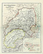 Ancient map of South African Republic and the Orange Free State with a detailed plan of Pretoria (1895) from the book 'The Castle Line atlas of South Africa' : a series of 16 plates, printed in colour, containing 30 maps and diagrams, with an account of the geographical features , the climate, the mineral and other resources, and the history of South Africa. And an index of over 6,000 names