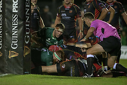 November 3, 2018 - Galway, Ireland - Tom McCartney of Connacht scores a try during the Guinness PRO14 match between Connacht Rugby and Dragons at the Sportsground in Galway, Ireland on November 3, 2018  (Credit Image: © Andrew Surma/NurPhoto via ZUMA Press)