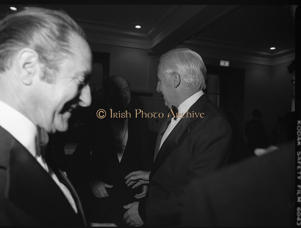 State Opening Of The National Concert Hall. (N92)..1981..09.09.1981..9th September 1981..The President ,Dr Patrick Hillery, officially opened the new National Concert Hall,Earlsfort Terrace, Dublin. The state opening was followed by the premier concert performed by the Radio Telefís Eireann Symphony Orchestra with a large cast of soloists, choirs and the RTESO leader Audrey Park and conducted by RTE's Principal conductor Colman Pearce...Image of Peter Barry TD Greeting President Patrick Hillery.