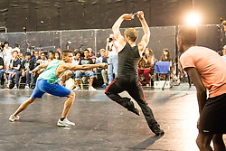 © Licensed to London News Pictures. 29/08/2013. Established in 1987, West Side Story, which is playing at Sadler's Wells until 22 September, is partnering up with the charity Leap Confronting Conflict, to run their first  special workshop together. Leap is bringing young people for a West Side Story workshop exploring issues of gangs and conflict within West Side Story and to discuss parallels/differences within their own lives and experiences in London and how they have dealt with conflict, re Gangs, London Riots etc. Photo credit: Tony Nandi/LNP